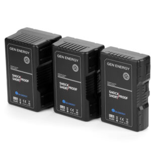 G-B100-98W-160W-195W-290W-15A-22A-Gen Energy-batteries-v mount-D tap-USB-power-video-chargers-frontside