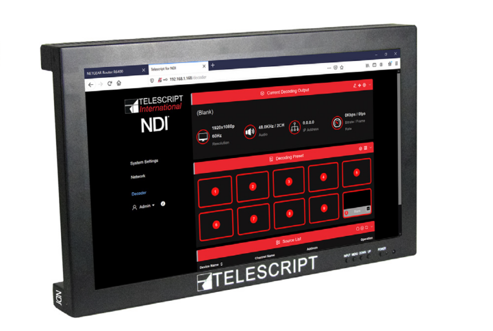 Telescript Announces World's First – Displays With NDI® Built-In